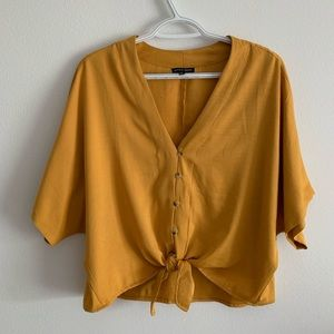 Style Envy Yellow Tie Front Crop Top